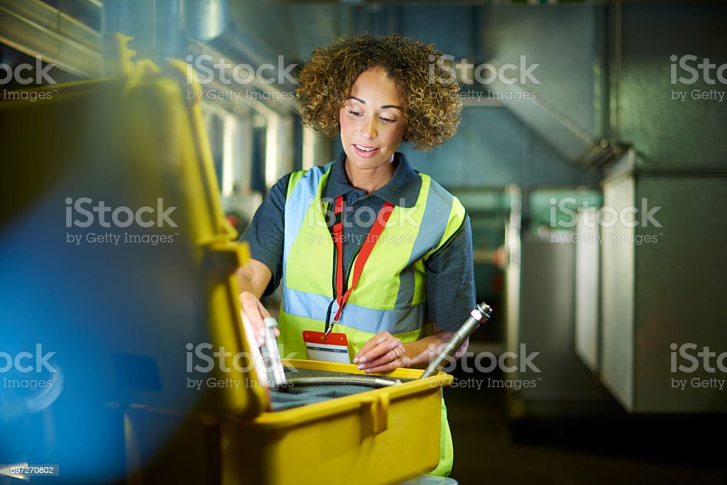 Engineer finding parts stock photo