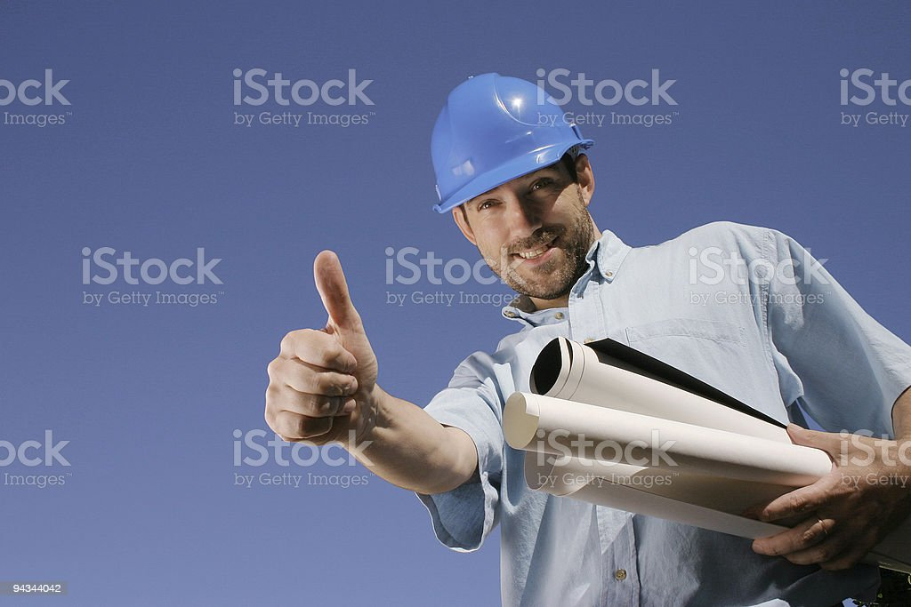 Engineer giving OK and a smile royalty-free stock photo