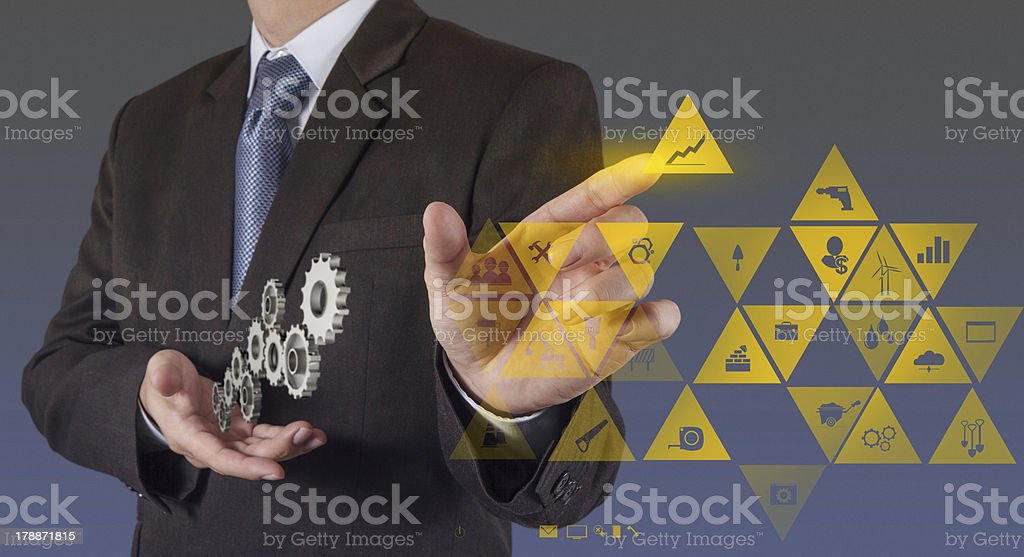 engineer hand working with new computer interface show building royalty-free stock photo