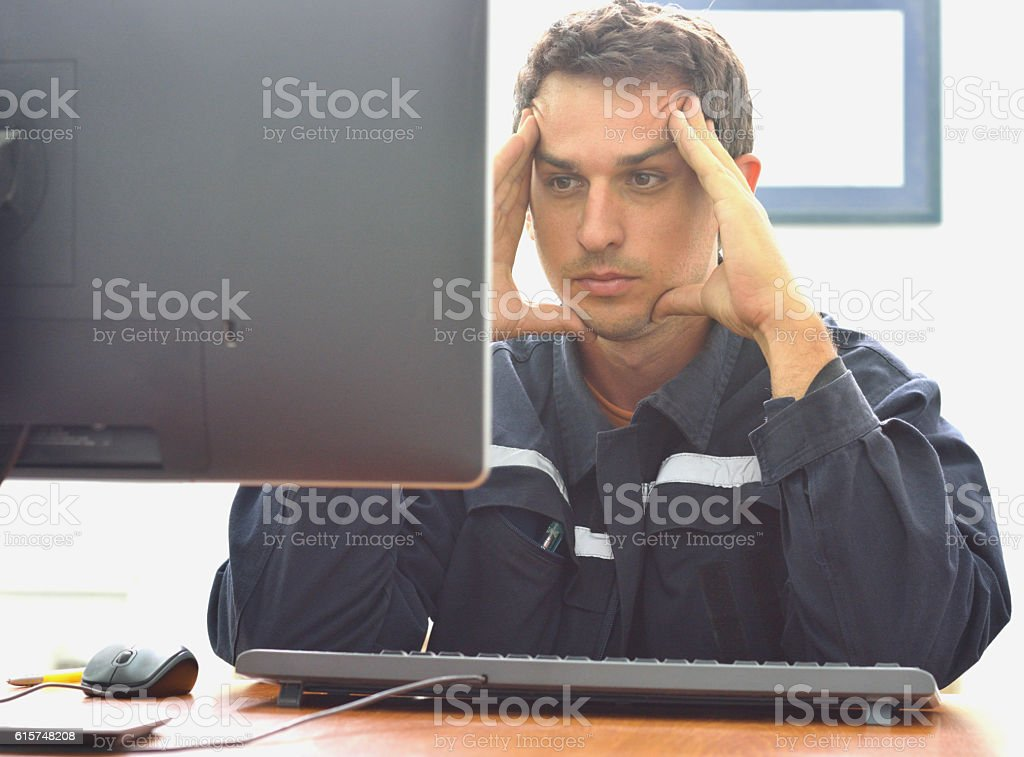 Engineer have Problems at Work stock photo
