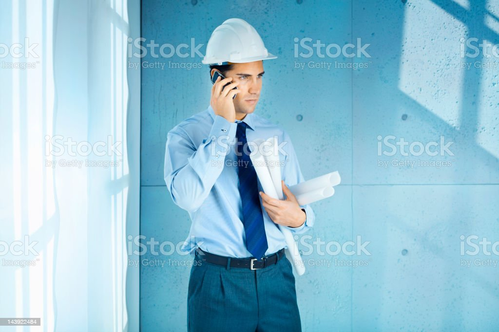 Engineer in a concrete office royalty-free stock photo
