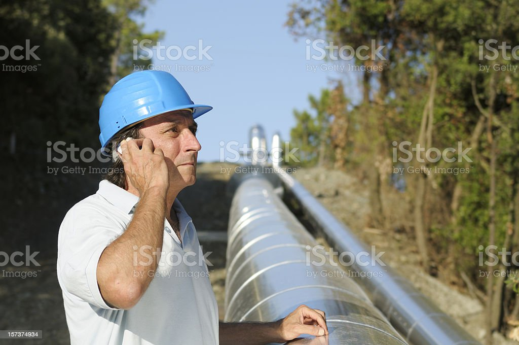 Engineer in a Geothermal Power Station royalty-free stock photo