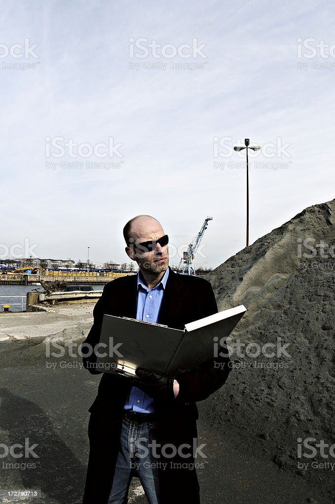 engineer in a gravel mine stock photo