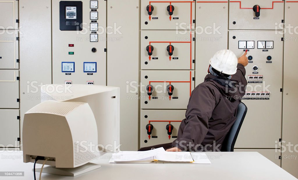 Engineer  in a power plant. royalty-free stock photo
