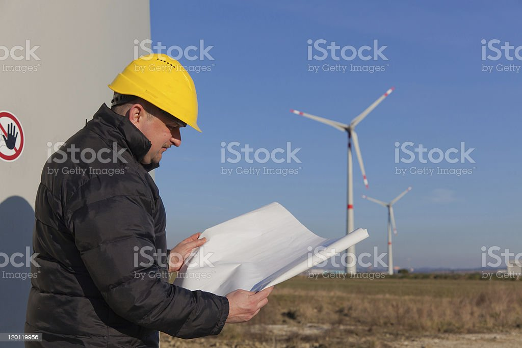 Engineer in a Wind Turbine Power Generation Station royalty-free stock photo