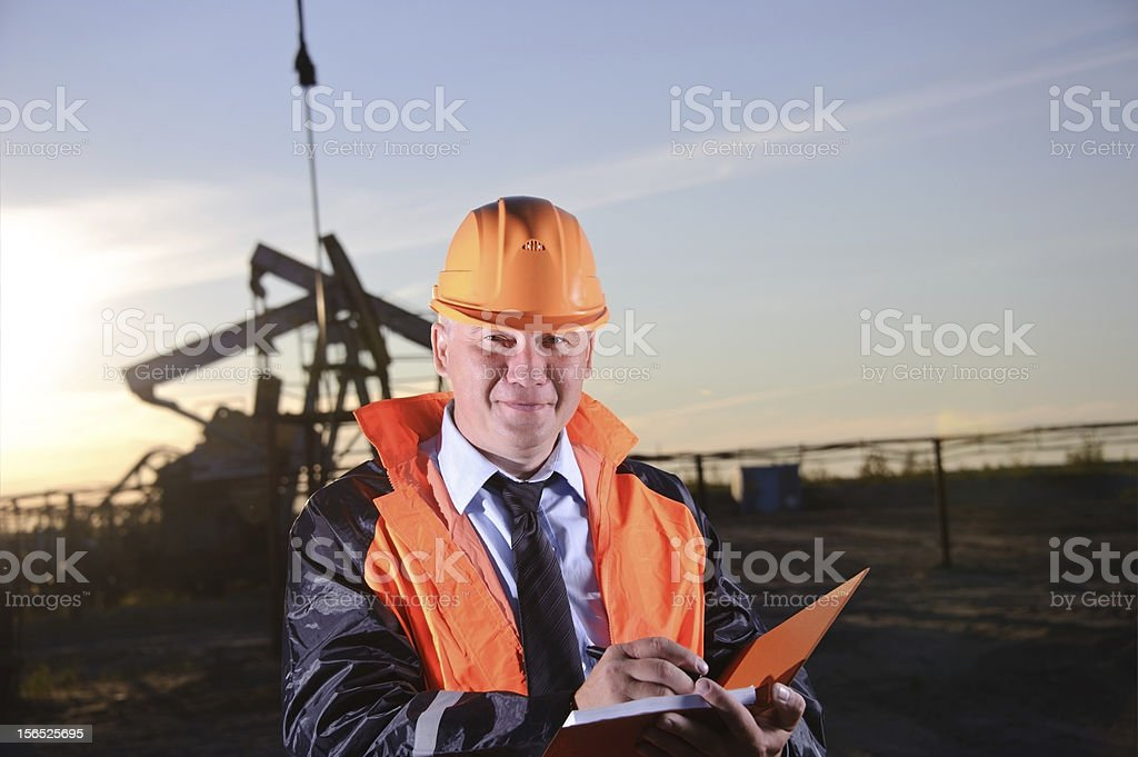 Engineer in an Oil field royalty-free stock photo