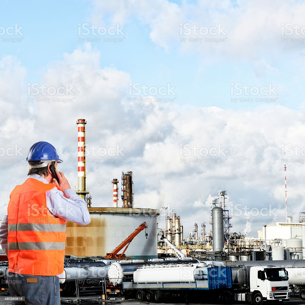 Engineer in Chemical Plant stock photo