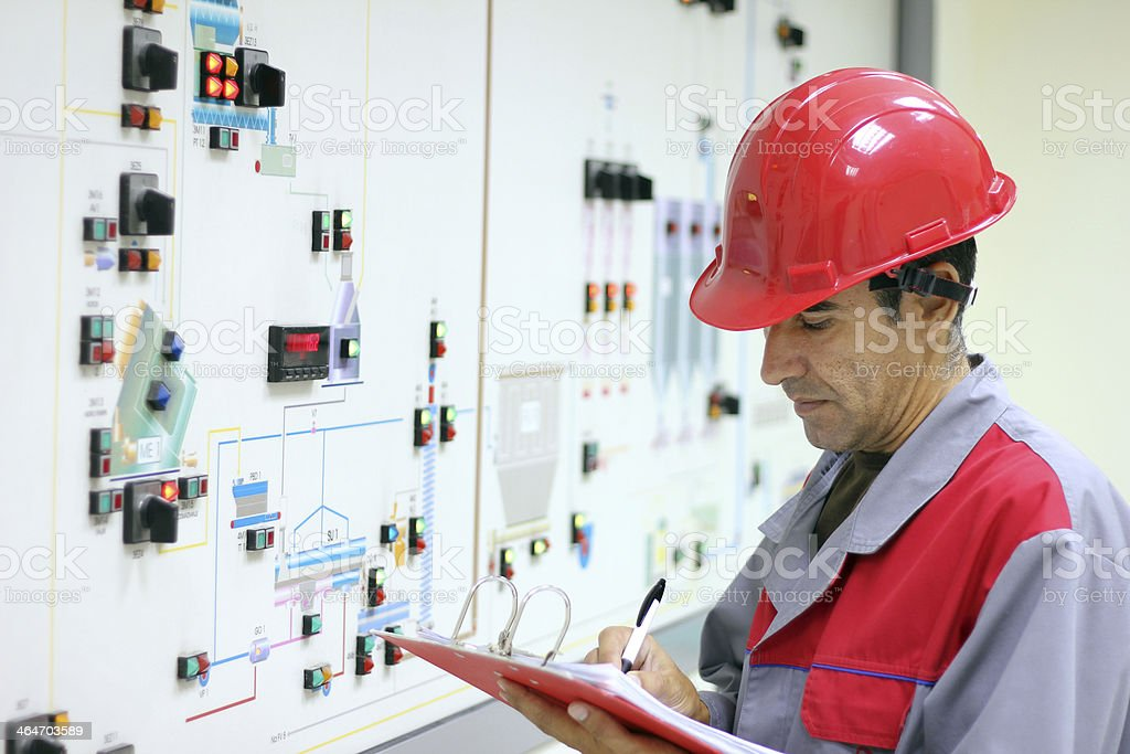 Engineer In Control Room stock photo