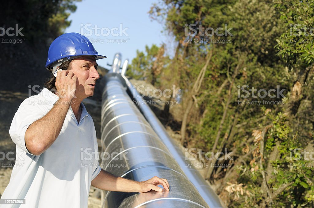 Engineer in Geothermal Power Station royalty-free stock photo