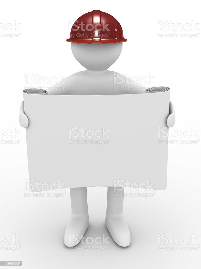 engineer in helmet on white background. Isolated 3D image royalty-free stock photo
