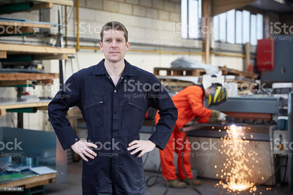 Engineer in steel fabrication factory stock photo