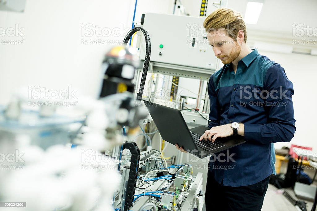 Engineer in the factory stock photo