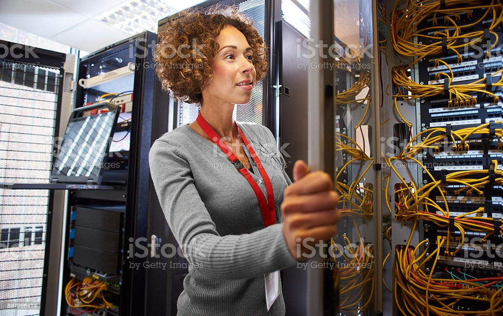 IT engineer in the server room stock photo