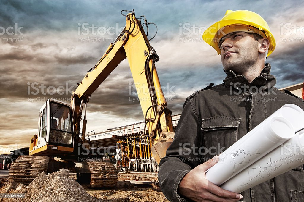 Engineer on construction site stock photo