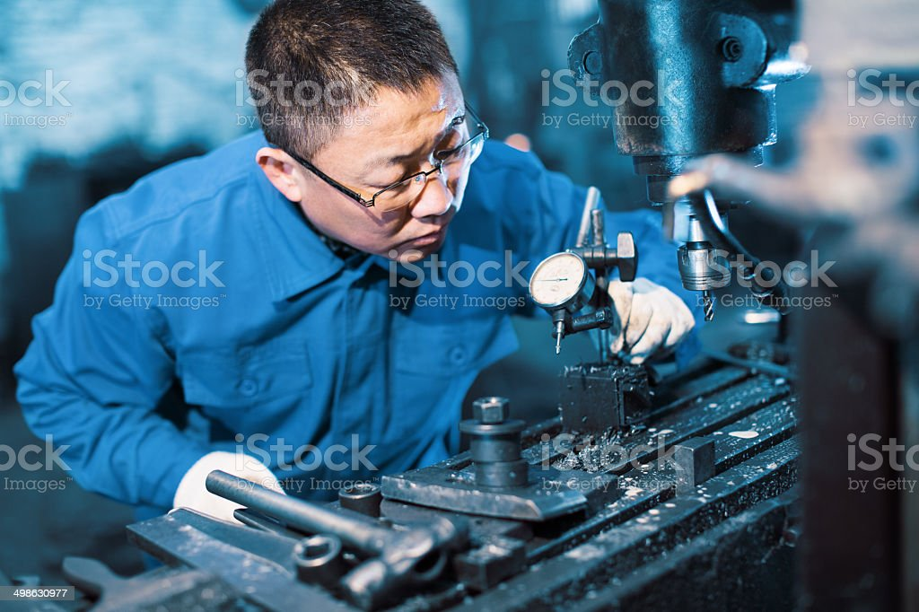 engineer on routine maintenance stock photo