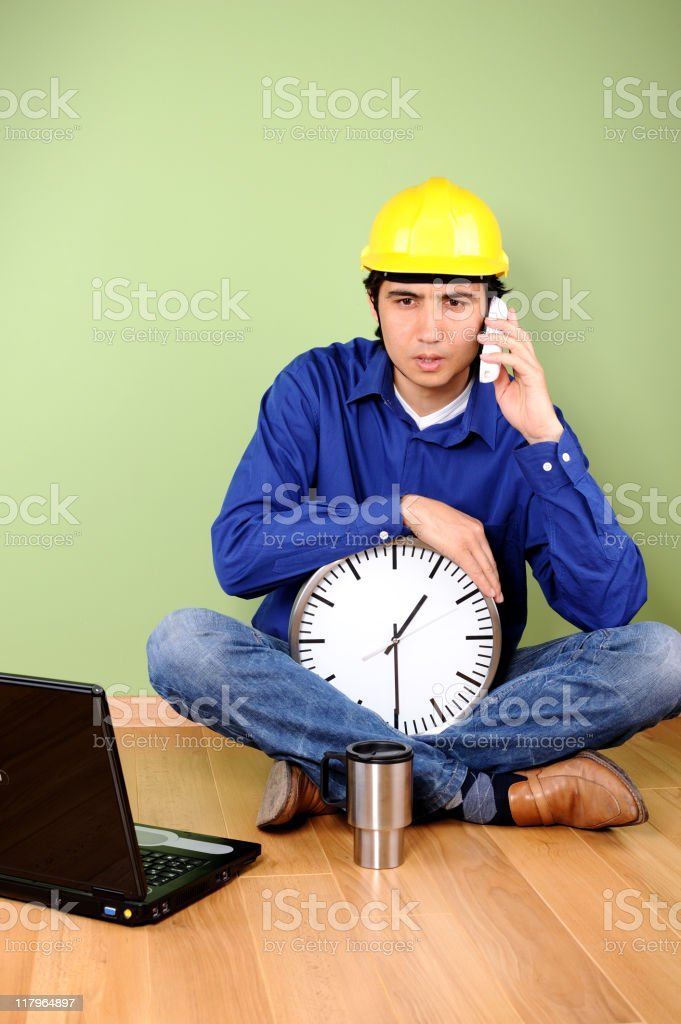 Engineer on the phone royalty-free stock photo