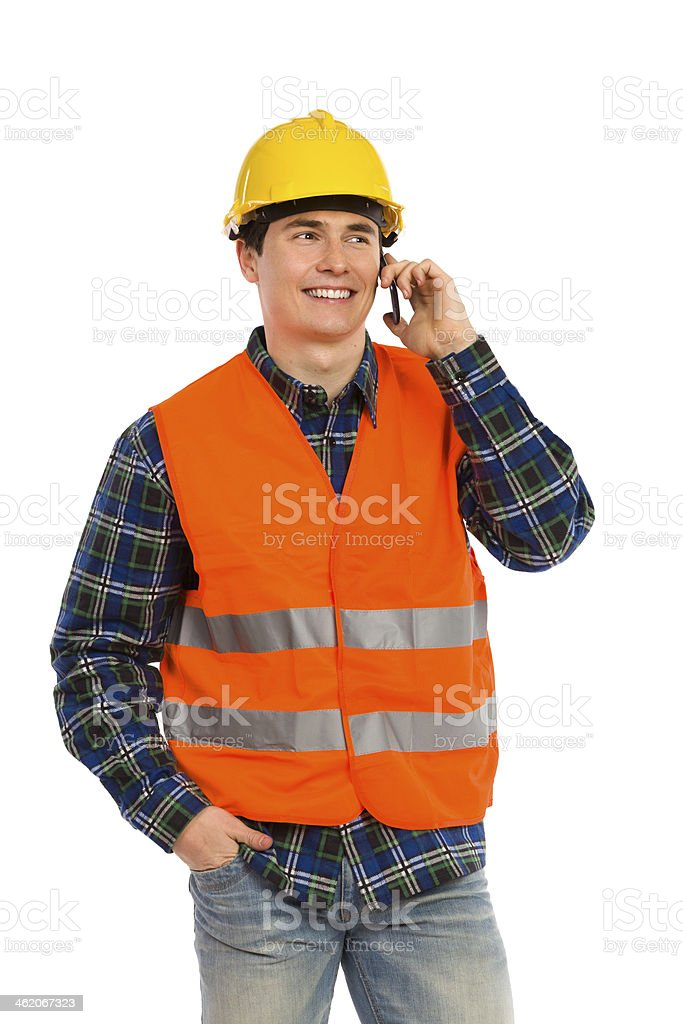 Engineer on the phone. royalty-free stock photo