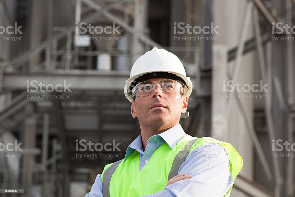 Engineer outside factory royalty-free stock photo
