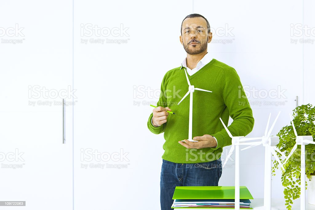 Engineer planning a green future stock photo