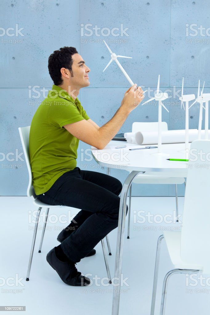 Engineer planning a green future royalty-free stock photo