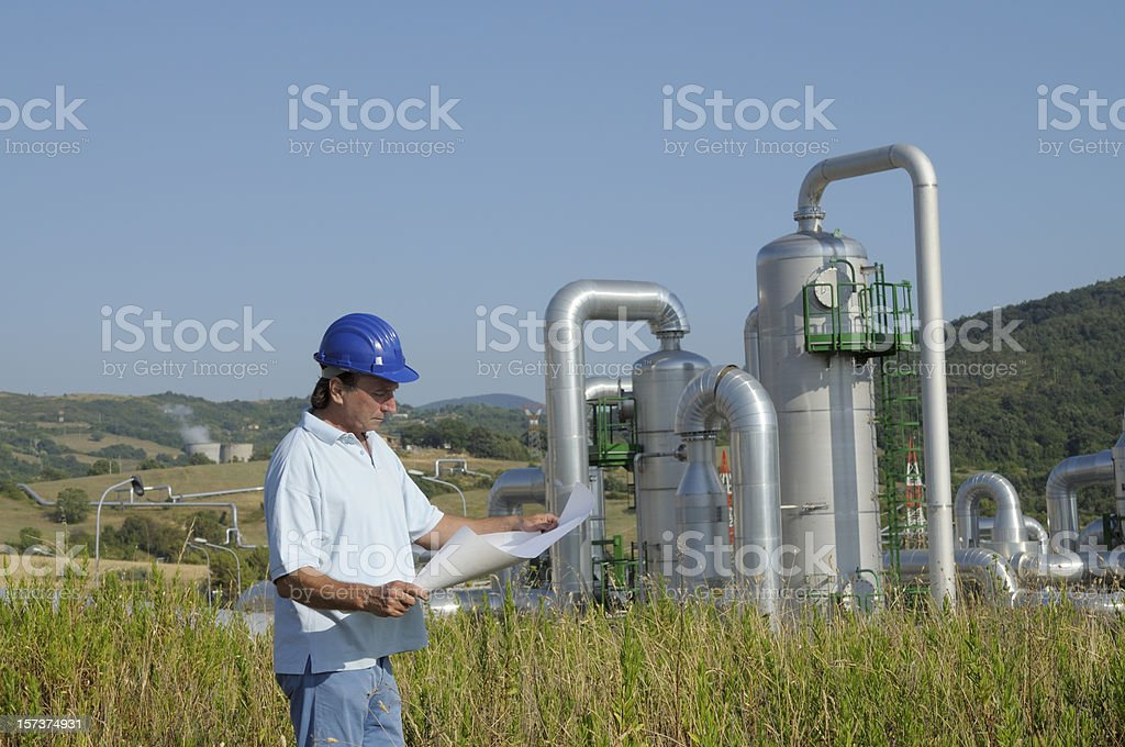 Engineer Planning in a Geothermal Power Station royalty-free stock photo