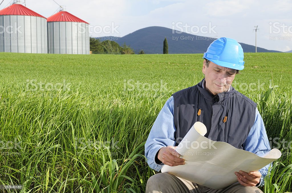 Engineer Planning in a Green Field royalty-free stock photo