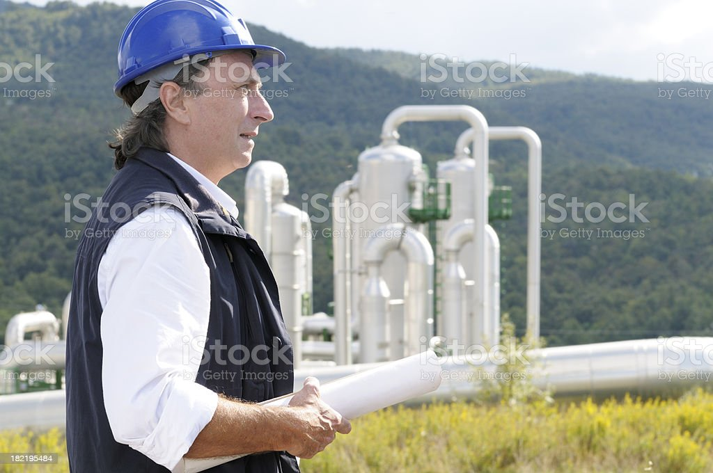 Engineer Planning in Geothermal Power Station royalty-free stock photo