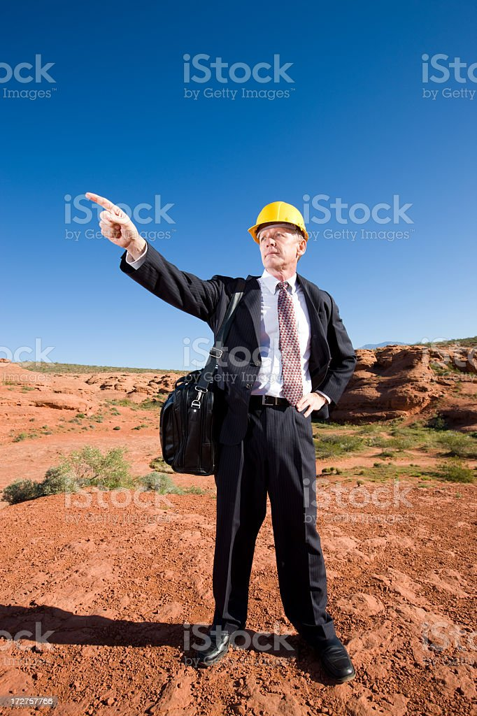 Engineer Pointing in Desert royalty-free stock photo
