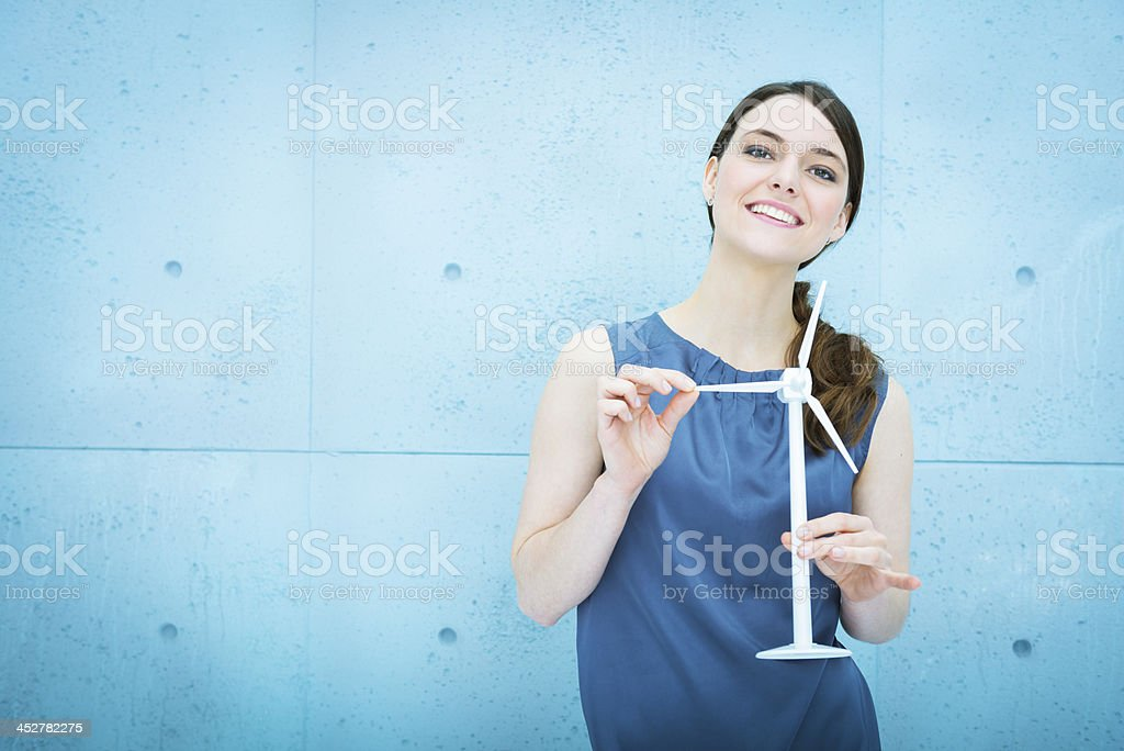 Engineer projecting wind turbines area royalty-free stock photo
