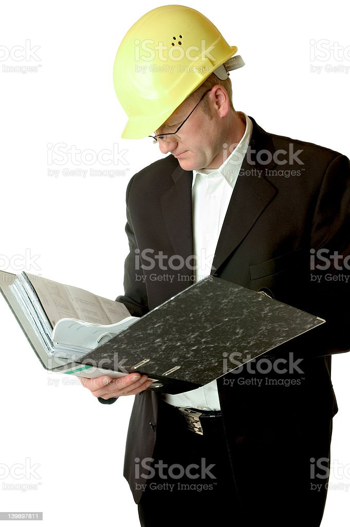 engineer reading files royalty-free stock photo