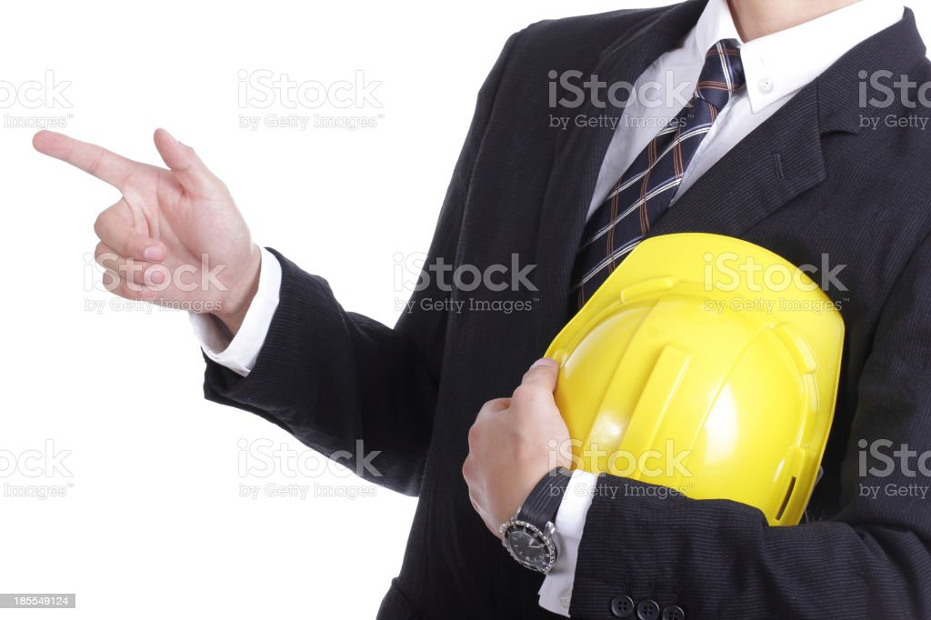 Engineer stand and use finger point something royalty-free stock photo