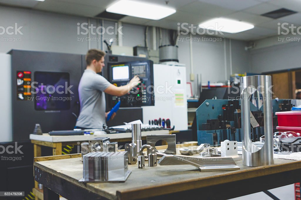 Engineer Students Learn to Use a CNC Lathe stock photo