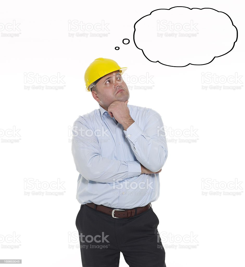Engineer Thinking And Empty Thought Bubble royalty-free stock photo