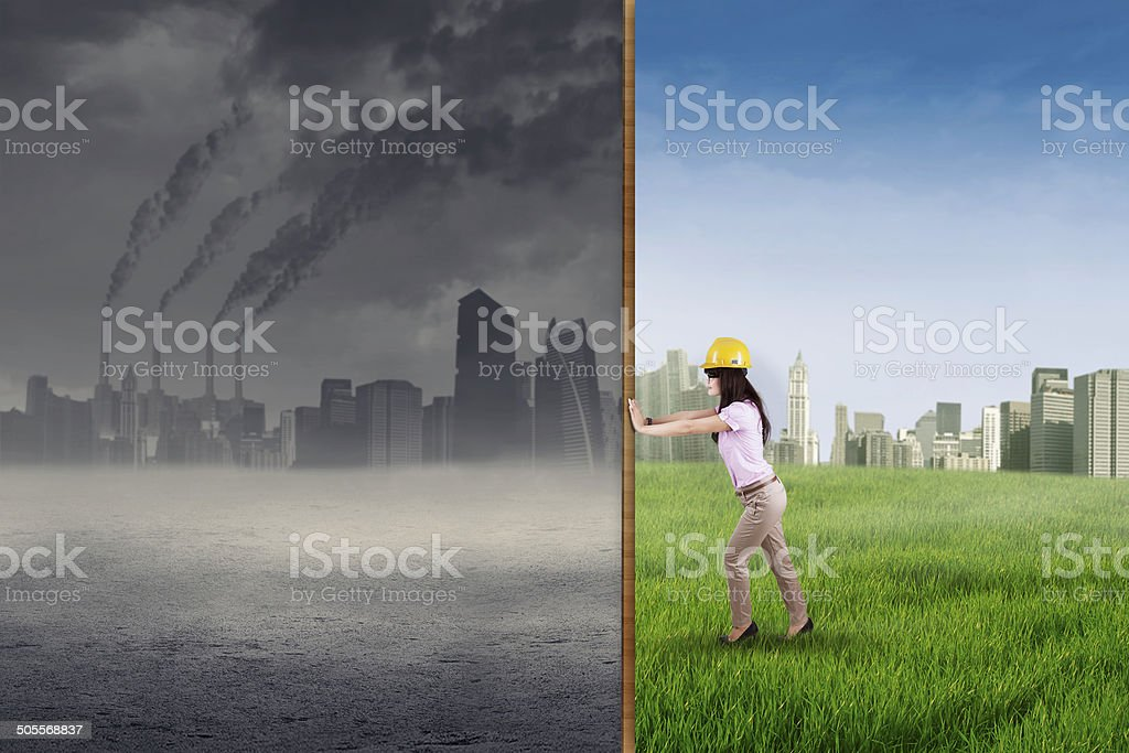 Engineer try to make a green city stock photo