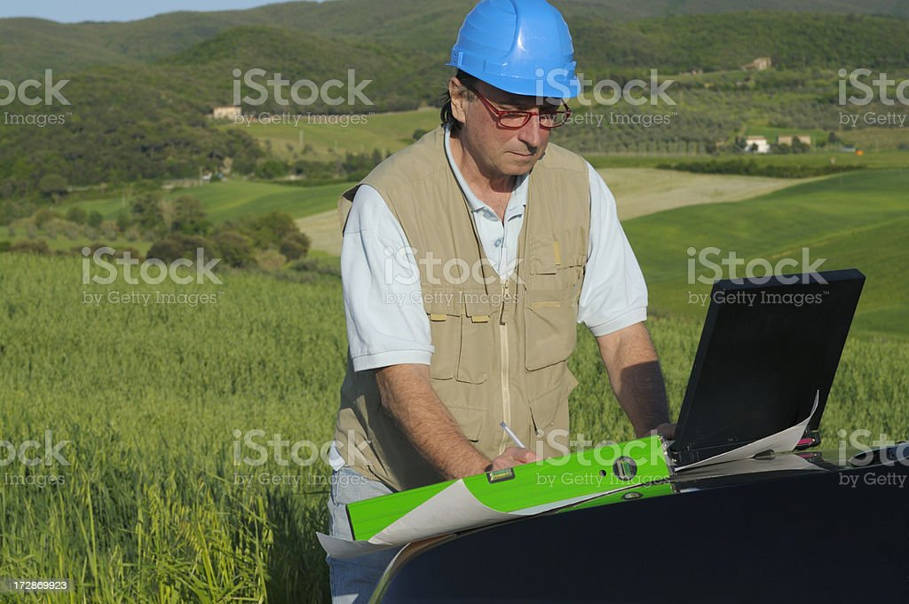 Engineer Using PC in the Country royalty-free stock photo