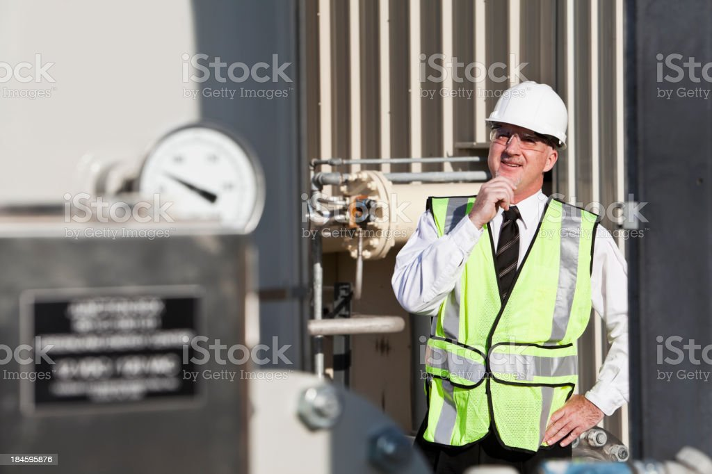 Engineer wearing safety vest royalty-free stock photo