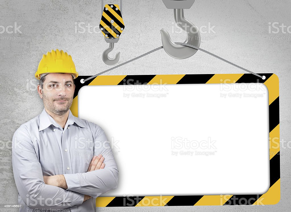 Engineer with a helmet on his head stock photo
