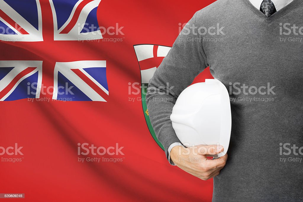 Engineer with flag on background series - Ontario stock photo