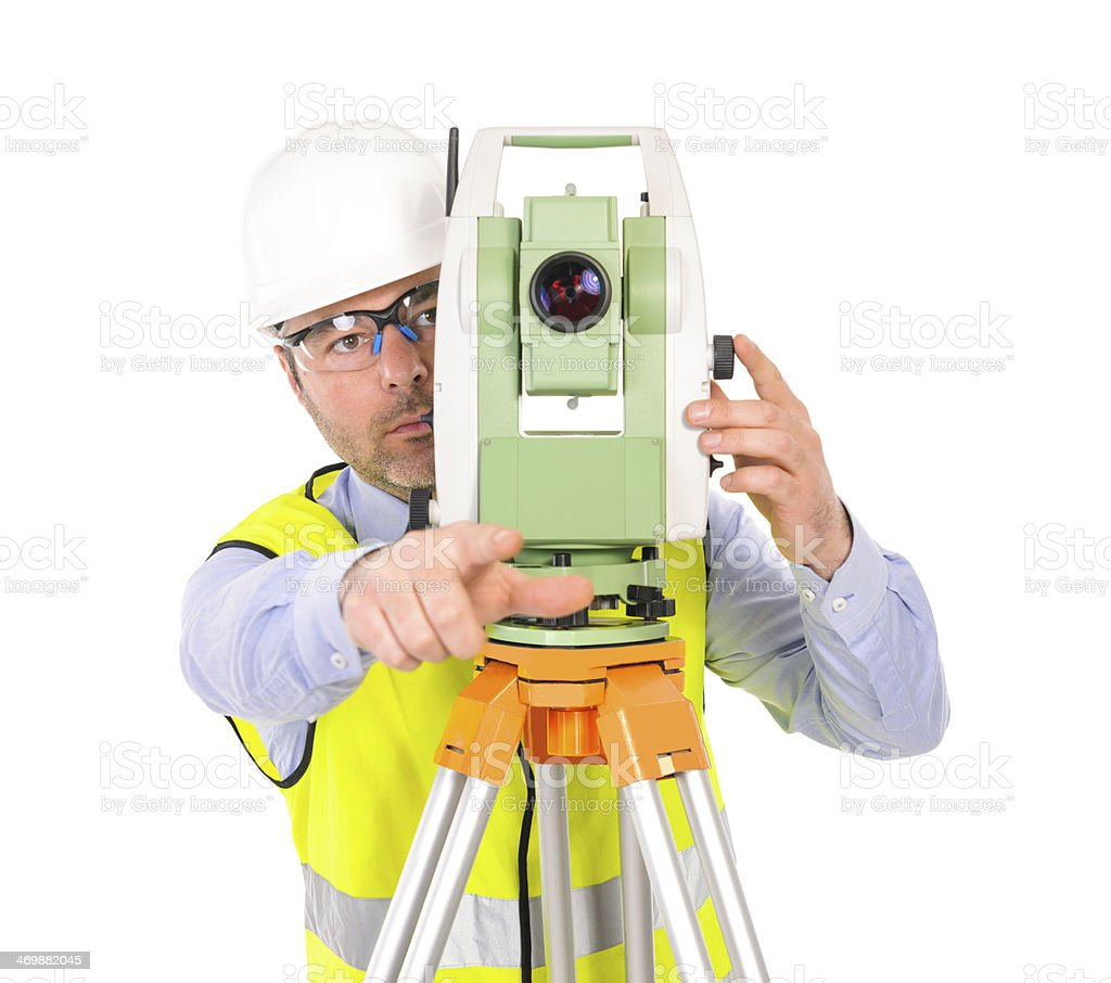 engineer with total station royalty-free stock photo