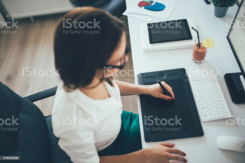 Engineer woman at the office stock photo