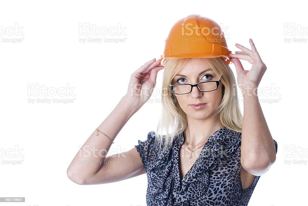 engineer woman in orange helmet royalty-free stock photo