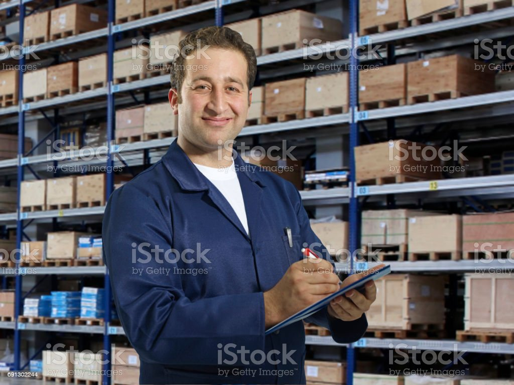 Engineer working in factory stock photo