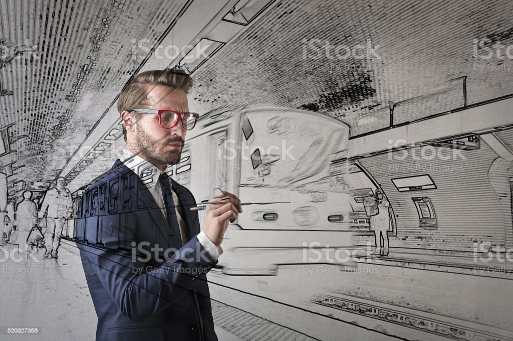 Engineer working on a train project stock photo