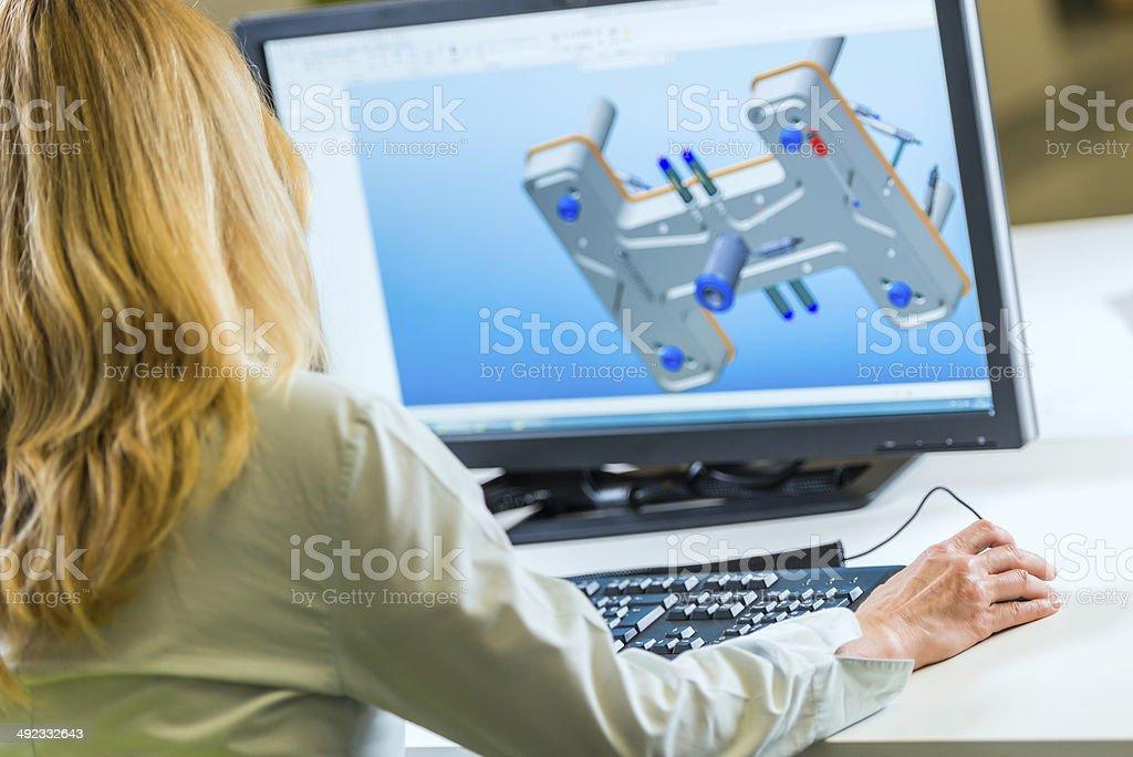 Engineer Working On Computer stock photo