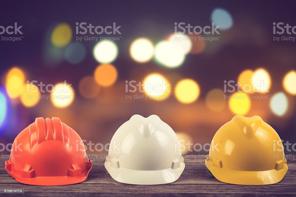 engineer working table plan and blueprint at building constructi stock photo