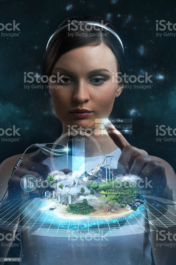 Engineer working with holographic media image of city. stock photo