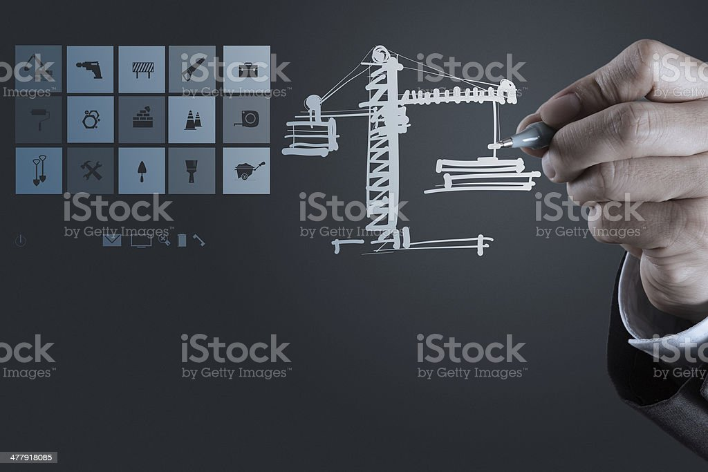 engineer working with new computer interface show building devel royalty-free stock photo