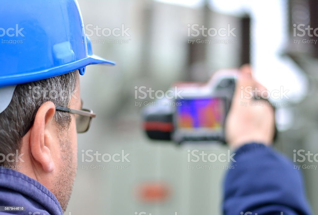 Engineer Works with Thermal Infrared Camera stock photo