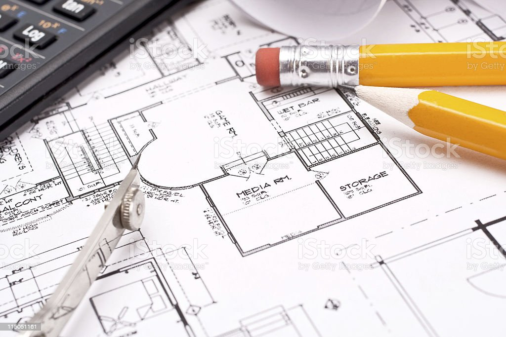 engineering and architecture drawings royalty-free stock photo