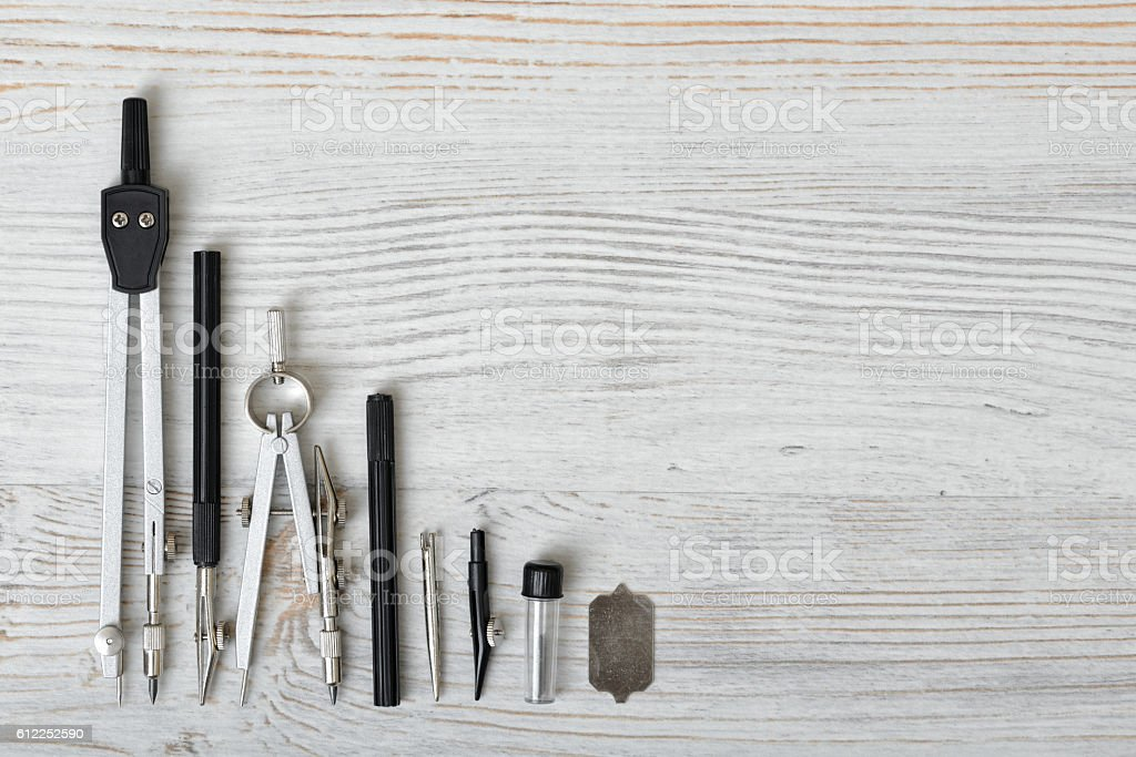 Engineering and school instruments are in a row. stock photo